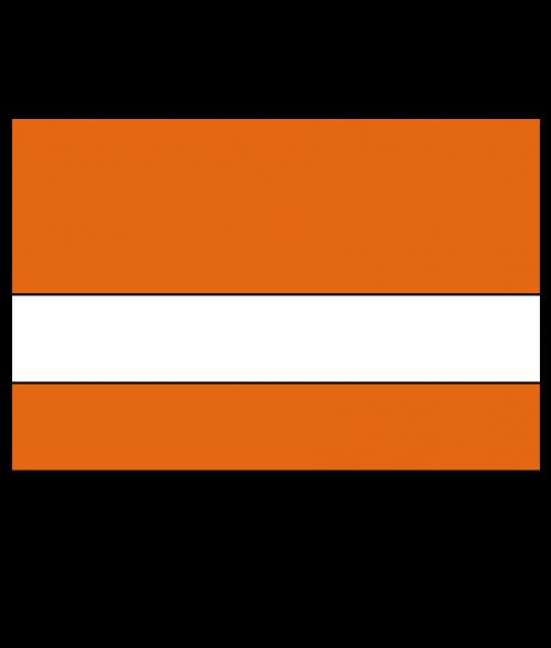"Rowmark Satins Orange/White 1/16"" Engraving Plastic"
