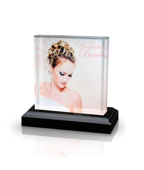 "Clear 4"" x 6"" Acrylic Award with Black Base"