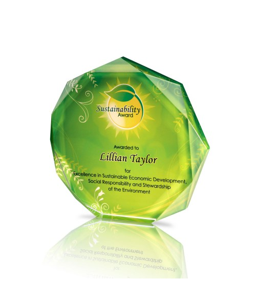 "Clear 6"" x 6"" Acrylic Octagon Award"