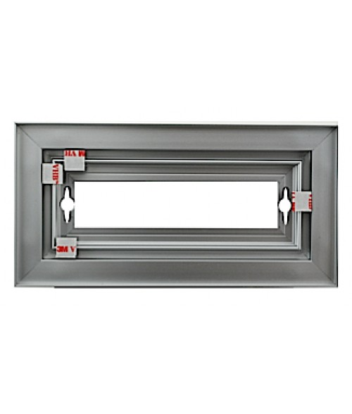"Rowmark Streamline 100 Anodized Silver 4"" x 8"" Assembled Metal Frame with 1/16"" Border"