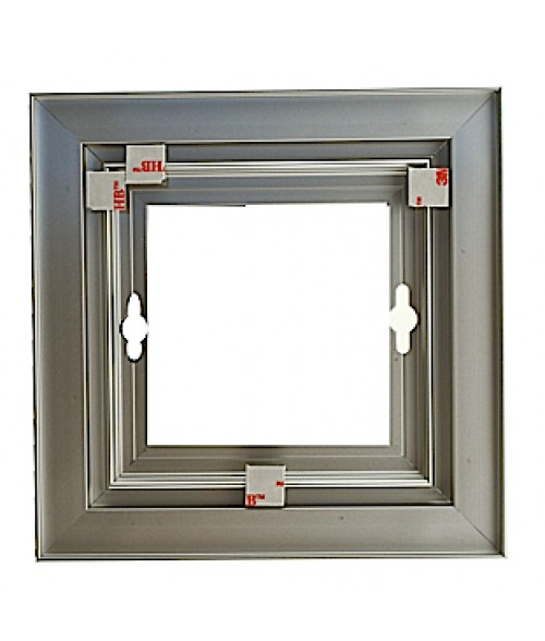 "Rowmark Streamline 100 Anodized Silver 8"" x 8"" Assembled Metal Frame with 1/16"" Border"