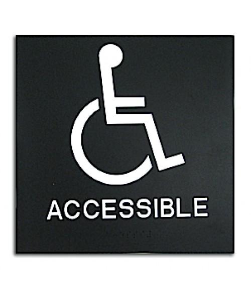 "Rowmark Presto Black 8"" x 8"" Handicap Accessible Ready Made ADA Sign"