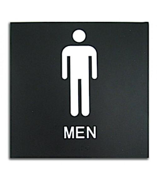 "Rowmark Presto Black 8"" x 8"" Mens Restroom Ready Made ADA Sign"