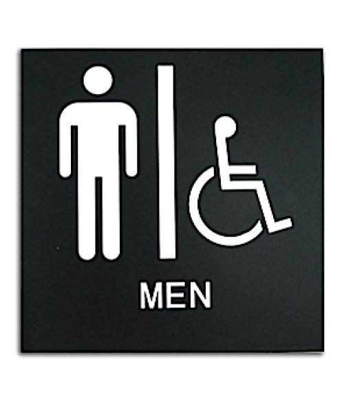 "Rowmark Presto Black 8"" x 8"" Mens Handicap Accessible Restroom Ready Made ADA Sign"