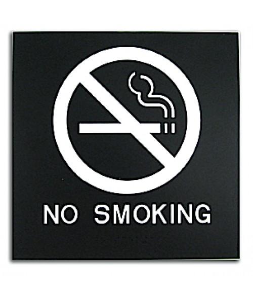 "Rowmark Presto Black 8"" x 8"" No Smoking Ready Made ADA Sign"