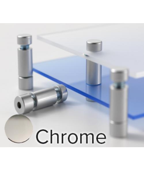 "Rowmark Metro Chrome Double Panel Stand-Offs (.47"" Diameter .79"" Mid Barrel Length)"