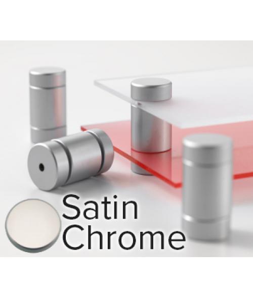"Rowmark Metro Satin Chrome Double Panel Stand-Offs (.75"" Diameter .59"" Mid Barrel Length)"