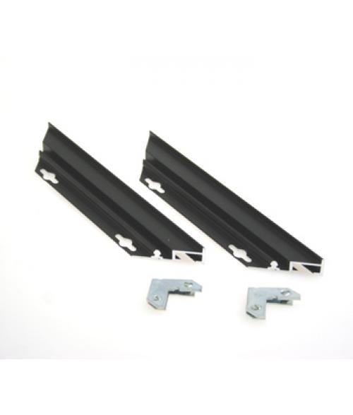 "Rowmark Streamline 100 Nighthawk Black 9"" Customizable Metal Frame Sides with 1/16"" Border (2/Pkg)"