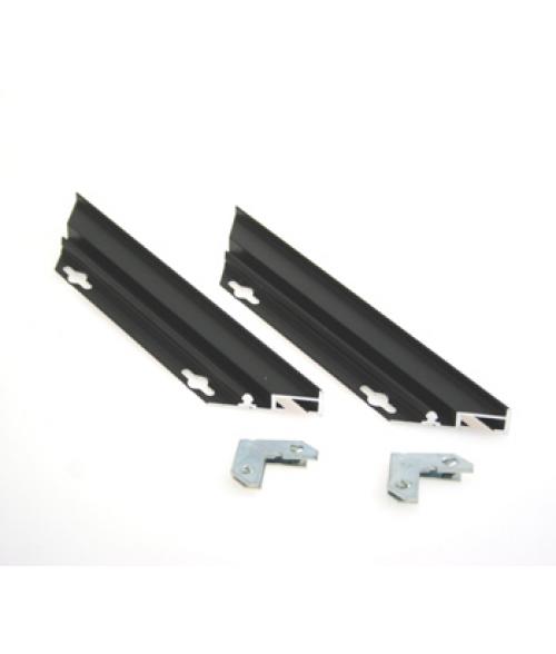 "Rowmark Streamline 100 Nighthawk Black 24"" Customizable Metal Frame Sides with 1/16"" Border (2/Pkg)"