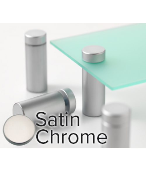 "Rowmark Metro Satin Chrome Stand-Offs (.98"" Diameter 1.97"" Barrel Length)"