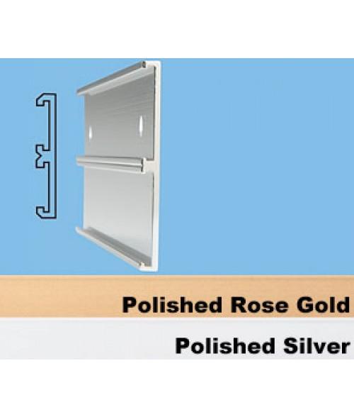 "JRS Polished Silver #104 Multiple Wall Bracket (Two 1"" x 8"" x 1/16"" Slots)"