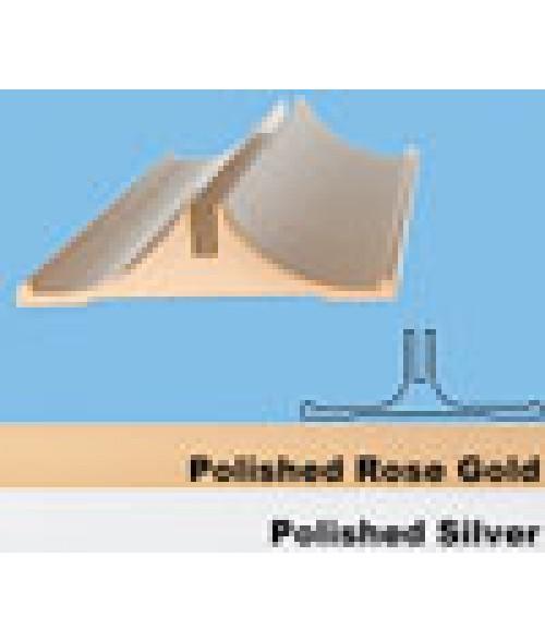"""JRS Polished Rose Gold 8"""" #22 Desk Base with 1/8"""" Slot"""