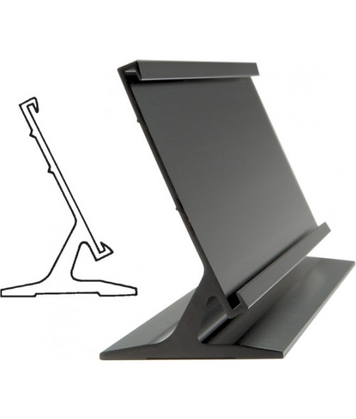 "JRS Matte Black 2"" x 9"" #30 Desk Holder for 1/16"" Thick Material"