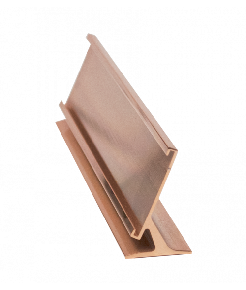 "JRS Polished Rose Gold 1-1/2"" x 10"" #31 Desk Holder for 1/16"" Thick Material"