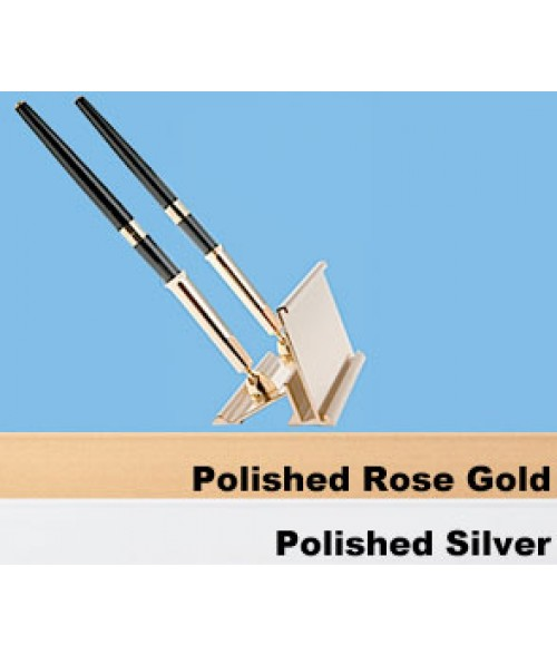 """JRS Polished Rose Gold 2"""" x 8"""" #34 Desk Holders with Pens for 1/16"""" Thick Material"""