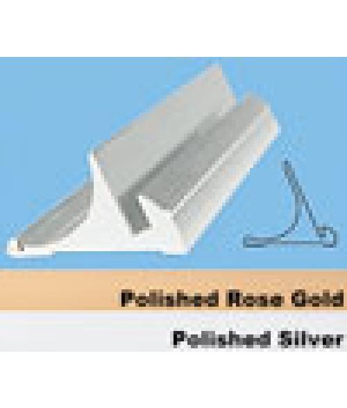 """JRS Polished Rose Gold 8"""" #55 Desk Base with 1/8"""" Slot"""