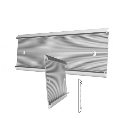 """JRS Polished Silver 1-1/2"""" x 10"""" #57 Wall Holder for 1/16"""" Thick Material"""