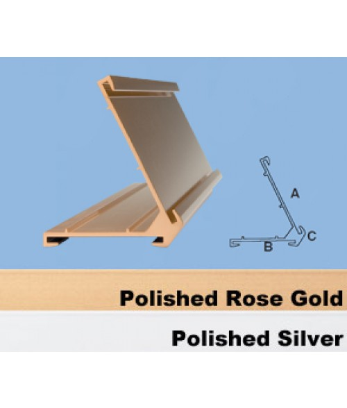 """JRS Polished Rose Gold #60 Multiple Sign Holder (One 1-1/2"""" x 8"""" x 1/16"""" Slot and One 2"""" x 8"""" Slot)"""