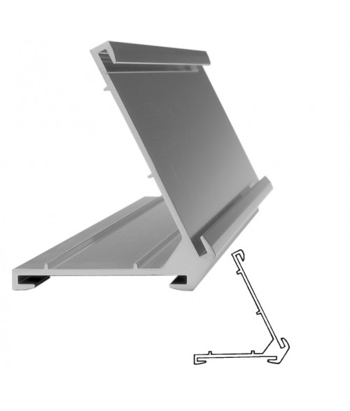 "JRS Polished Silver #60 Multiple Sign Holder (One 1-1/2"" x 8"" x 1/16"" Slot and One 2"" x 8"" Slot)"