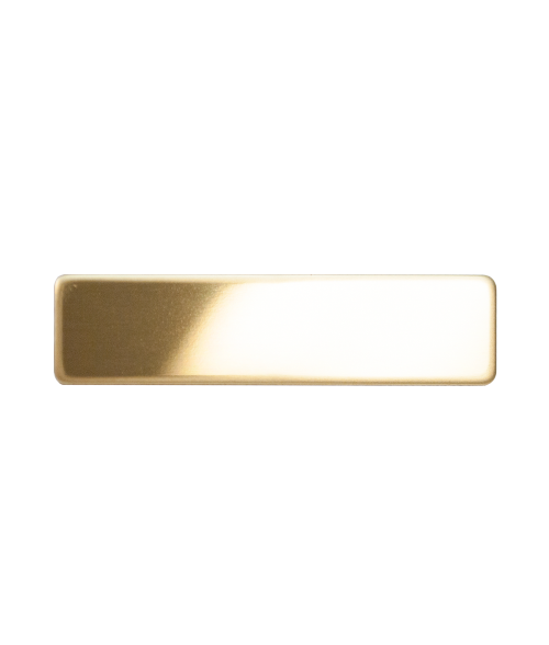 "Glossy Gold 5/8"" x 2-1/2"" Premium Metal Name Tag with Pinback"