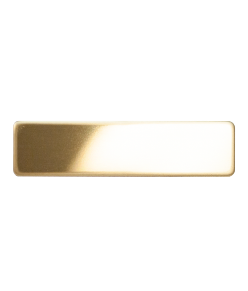 "Glossy Gold 3/4"" x 3"" Premium Metal Name Tag with Pinback"