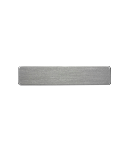 "Satin Silver 3/8"" x 2-1/4"" Premium Metal Name Tag with Clutch Back"