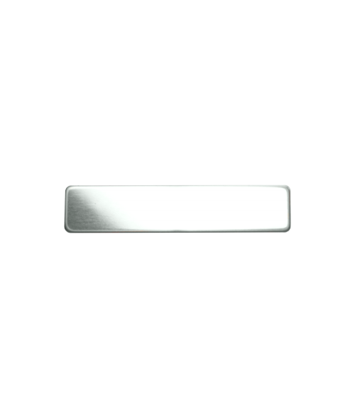 "Glossy Silver 1/2"" x 2-3/8"" Premium Metal Name Tag with Pinback"