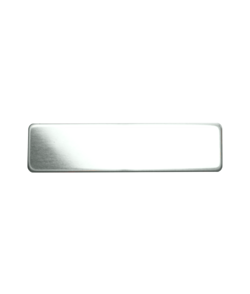 "Glossy Silver 3/4"" x 3"" Premium Metal Name Tag with Clutch Back"