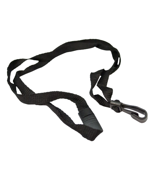 "Black 7/16"" x 35"" Breakaway Lanyard with Plastic Hook"