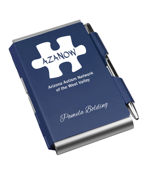 Dark Blue Anodized Double Sided FlipNote with Pen