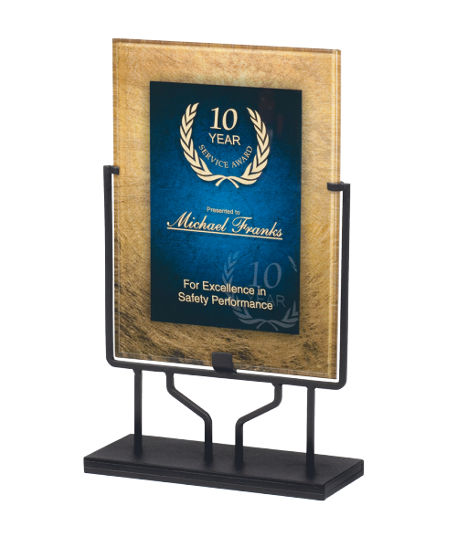 "Focus Series Blue/Gold 8.75"" x 11.75"" Plaque with Iron Stand"
