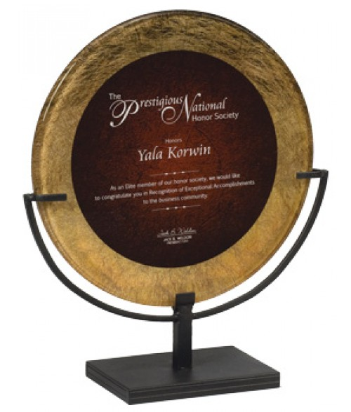 "Focus Series Burgundy/Gold 15"" Round Plaque with Iron Stand"