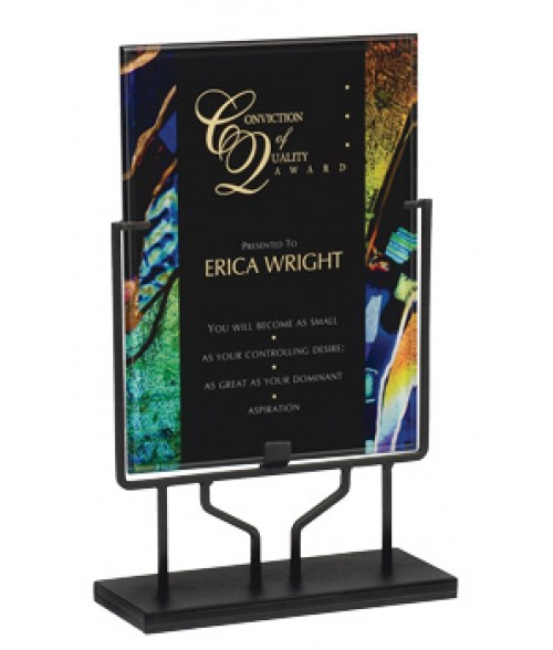 "Focus Series Black/Blue Art 8.75"" x 11.75"" Plaque with Iron Stand"