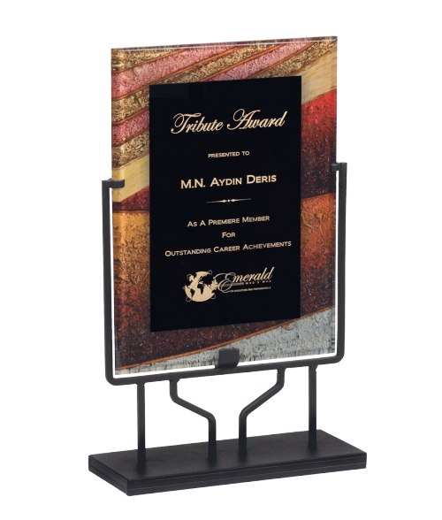"Focus Series Black/Autumn Harvest 8.75"" x 11.75"" Plaque with Iron Stand"