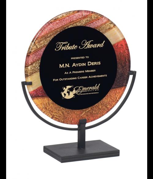 "Focus Series Black/Autumn Harvest 11"" Round Plaque with Iron Stand"