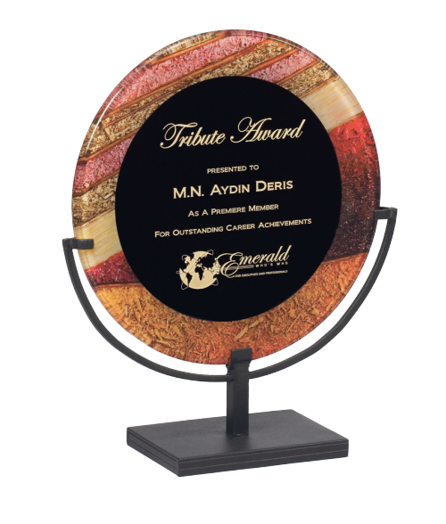 "Focus Series Black/Autumn Harvest 15"" Round Plaque with Iron Stand"