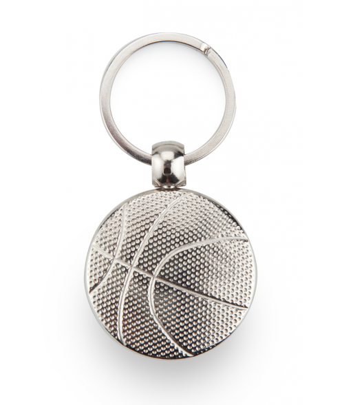 Punch'nPress Silver 30mm Basketball Key Chain