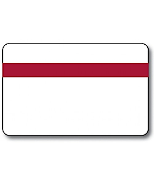 "IPI Printables Plus White/Burgundy/White .044"" Engravable Print Receptive Blank Card"