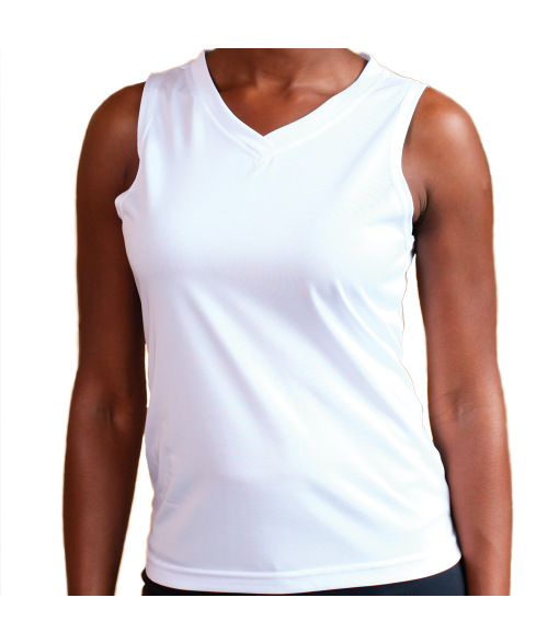 Vapor Ladies White Micro Singlet (S)