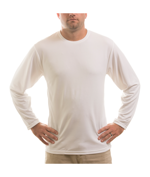 Vapor Adult White Eco Running Long Sleeve Crew Neck Tee (S)