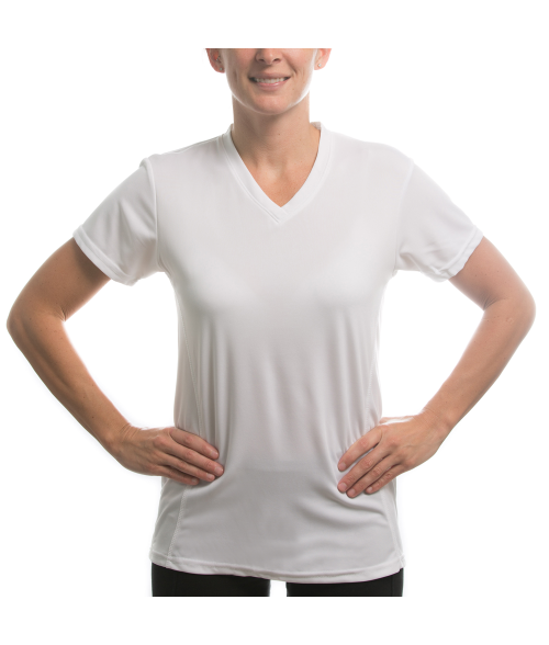 Vapor Ladies White Fashion Fit V Neck Tee (M)