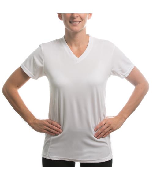 Vapor Ladies White Fashion Fit V Neck Tee (XS)