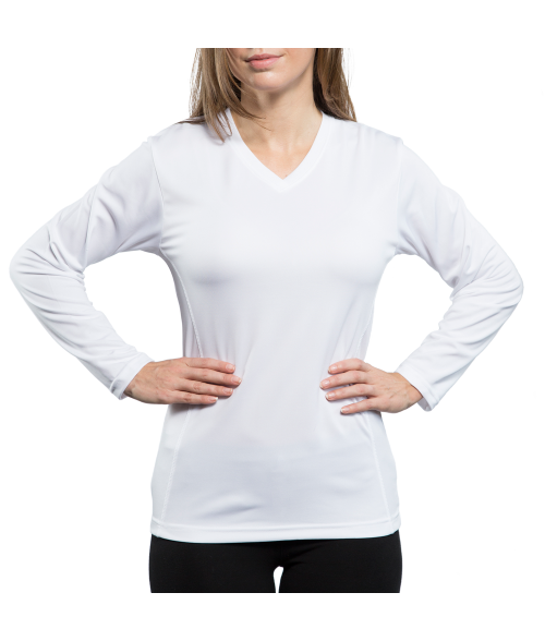 Vapor Ladies White Eco Running Long Sleeve V Neck Tee (L)