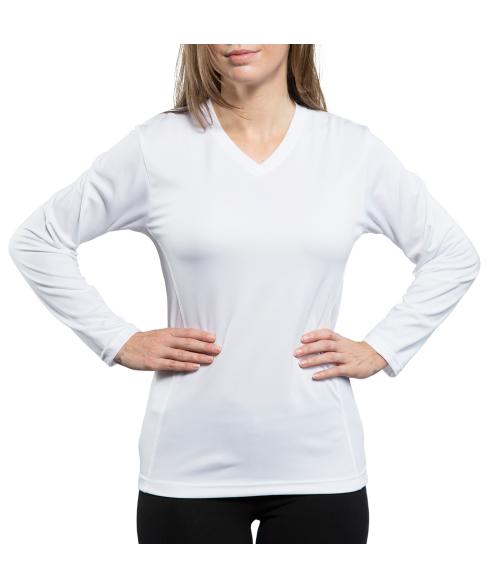 Vapor Ladies White Eco Running Long Sleeve V Neck Tee (M)
