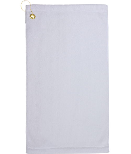 "Blank Towel: White 11"" X 18"" Microfiber Velour Towel With Grommet And"