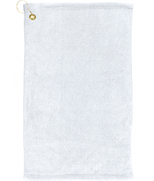 "White 16"" x 25"" Microfiber Velour Towel with Grommet and Hook"