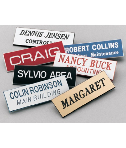 "Scott White/Black 1"" x 3"" Name Badge with Square Corners"