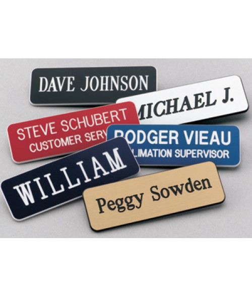 "Scott Brushed Brass/Black 1"" x 3"" Name Badge with Round Corners"