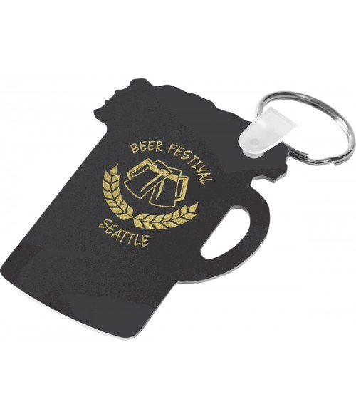 "Unisub Gloss White 2-3/4"" x 2"" 2-Sided Aluminum Stein Key Chain"