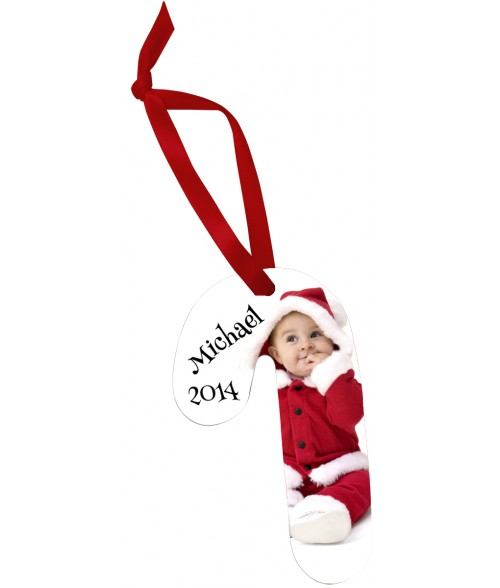 Unisub White Aluminum Candy Cane Ornament